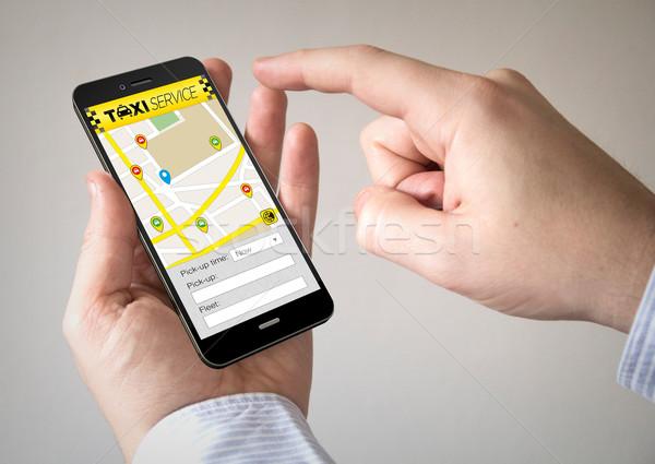 Dokunmatik ekran taksi uygulama ekran Stok fotoğraf © georgejmclittle