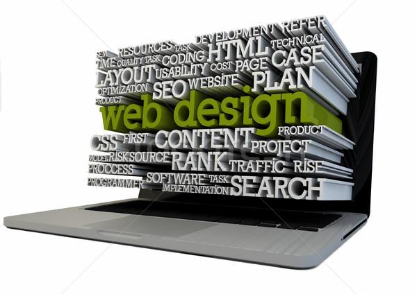 Web tasarım vermek dizüstü bilgisayar metin ekran teknoloji Stok fotoğraf © georgejmclittle
