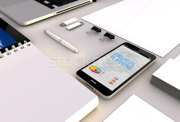 Smartphone bureau planification financière affaires vue Photo stock © georgejmclittle
