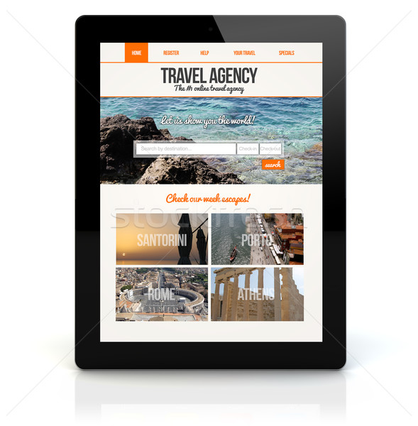 tablet pc travel agency online Stock photo © georgejmclittle