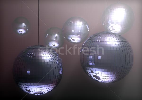 Stock fotó: Diszkó · golyók · 3d · render · csoport · tánc