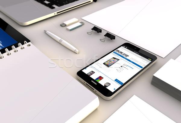 Online winkel smartphone kantoor ecommerce Stockfoto © georgejmclittle