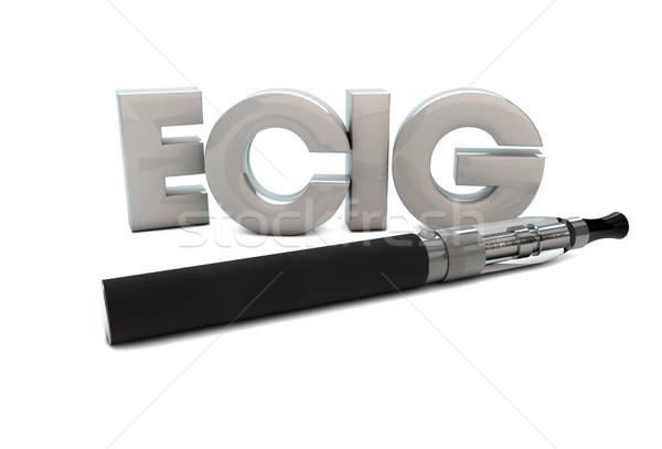 Render elektronikus cigaretta szöveg füst fekete Stock fotó © georgejmclittle