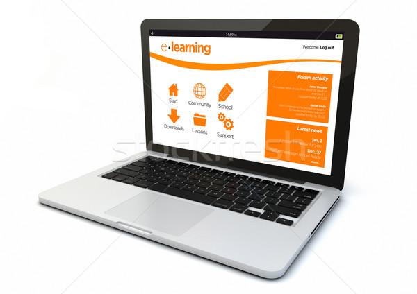 ноутбука онлайн обучения оказывать 3D генерируется Сток-фото © georgejmclittle