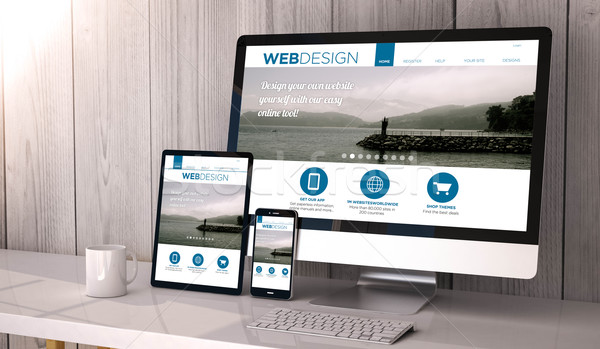 devices responsive with web design fluid template Stock photo © georgejmclittle