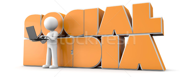 оказывать человека компьютер текста оранжевый Сток-фото © georgejmclittle