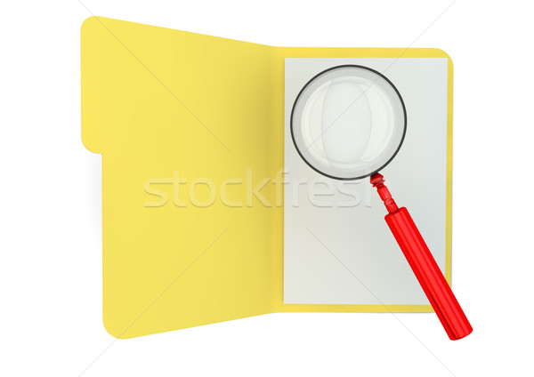 Ouvrir dossier loupe bureau document Photo stock © georgejmclittle