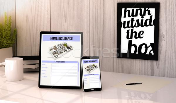 Masaüstü tablet telefon ev sigortası dijital oluşturulan Stok fotoğraf © georgejmclittle