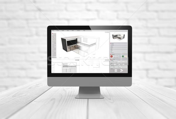 Ordinateur architecture numérique généré 3D logiciels Photo stock © georgejmclittle