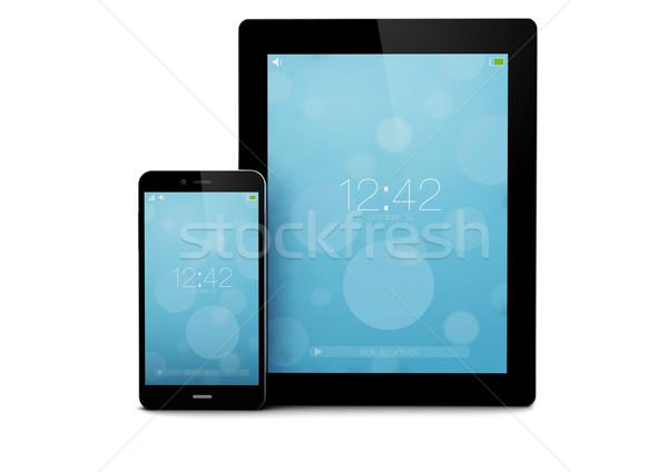 Zárolt okostelefon tabletta render számítógép telefon Stock fotó © georgejmclittle