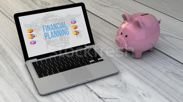 Pénzügyi tervezés persely online helyszín laptop fából készült Stock fotó © georgejmclittle