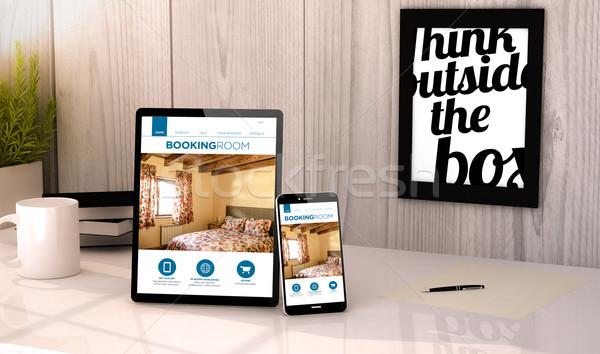 desktop tablet and phone booking hotel reservation Stock photo © georgejmclittle