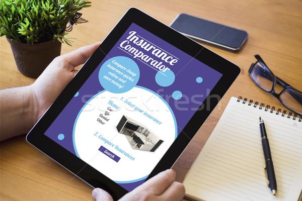 desktop tablet insurance comparator Stock photo © georgejmclittle