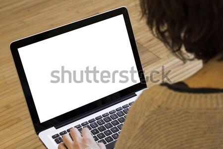 Kadın bilgisayarı kadın ekran bilgisayar eller dizüstü bilgisayar Stok fotoğraf © georgejmclittle