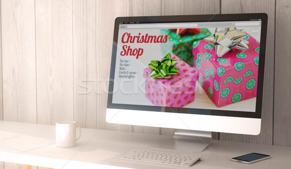 desktop computer christmas sales Stock photo © georgejmclittle