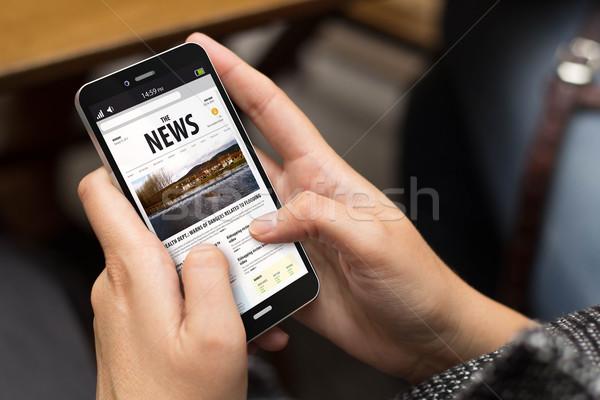 Rue fille nouvelles numérique généré téléphone Photo stock © georgejmclittle