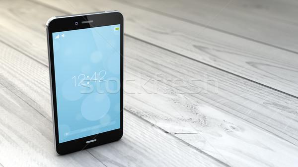 Smartphone blanche bois numérique généré tous Photo stock © georgejmclittle