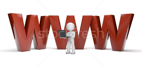 World wide web tornar homem surfe com computador Foto stock © georgejmclittle