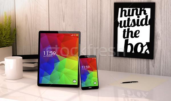 Desktop tablet telefoon digitale gegenereerde werkplek Stockfoto © georgejmclittle