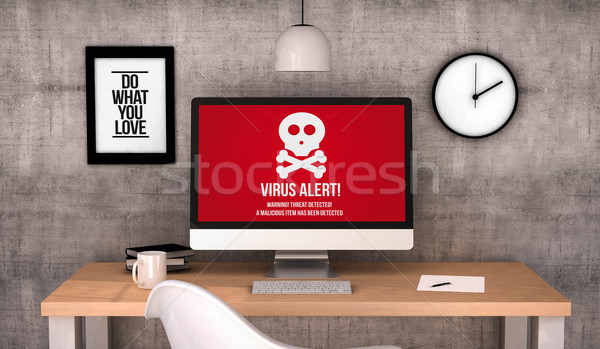 workspace computer with virus alert screen Stock photo © georgejmclittle