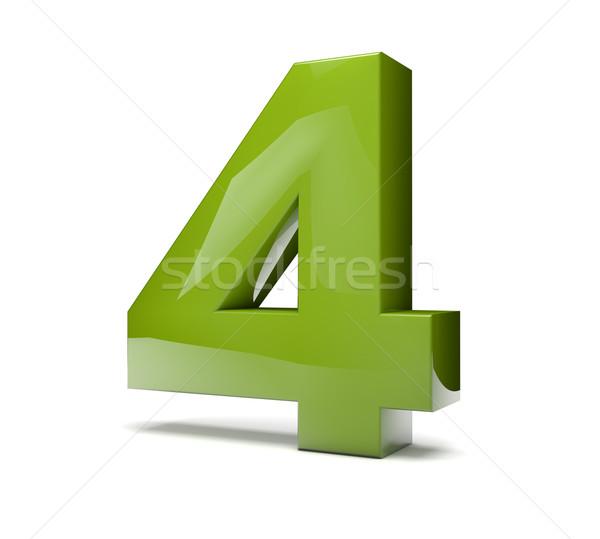 числа четыре 3d визуализации зеленый икона Сток-фото © georgejmclittle