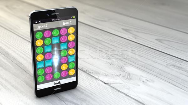 Számítógépes játékok okostelefon fehér fából készült digitális generált Stock fotó © georgejmclittle