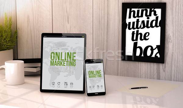 desktop tablet and phone online marketing Stock photo © georgejmclittle