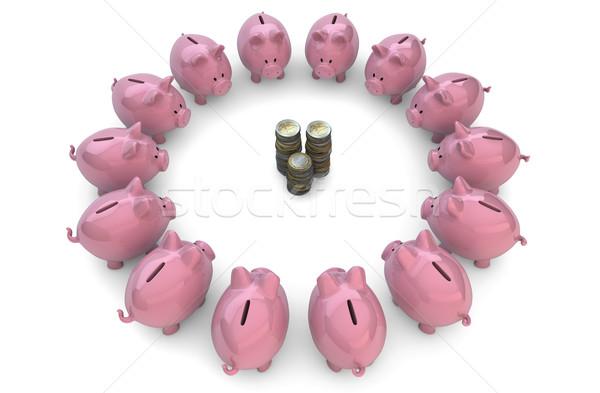 piggybanks around coins Stock photo © georgejmclittle