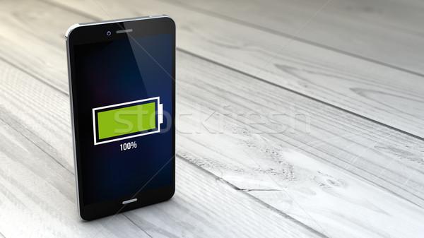 Smartphone blanche bois plein batterie numérique Photo stock © georgejmclittle