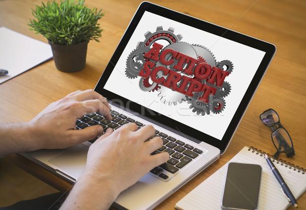 Bilgisayar masaüstü eylem komut geliştirici web Stok fotoğraf © georgejmclittle
