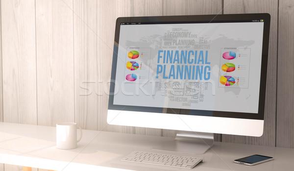 Asztali számítógép pénzügyi tervezés digitális render generált munkaterület Stock fotó © georgejmclittle