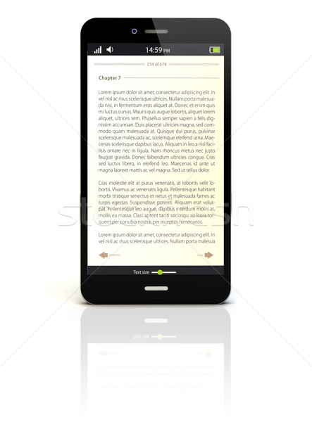 電子ブック スマートフォン レンダー アプリ 画面 図書 ストックフォト © georgejmclittle
