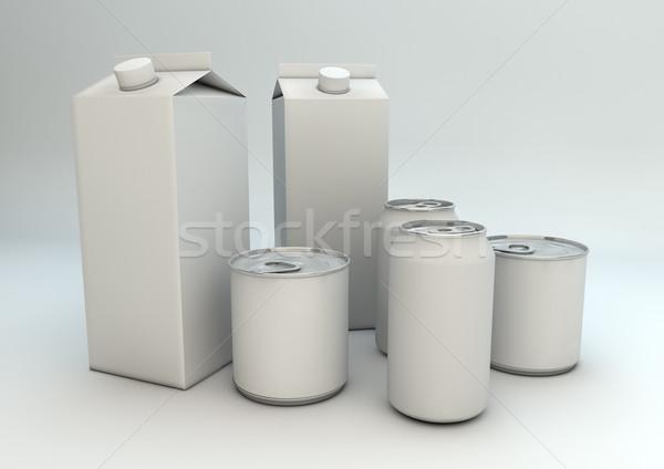 Emballage lait métal boire vide Photo stock © georgejmclittle