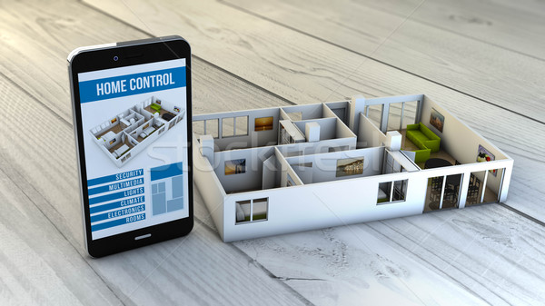 home automation smartphone with flat mock-up Stock photo © georgejmclittle