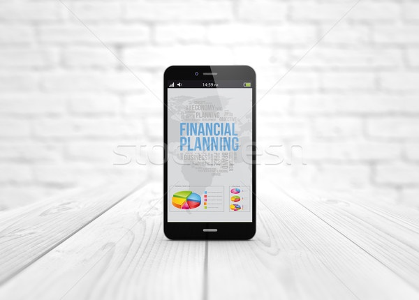 smart phone over wooden table financial planning Stock photo © georgejmclittle