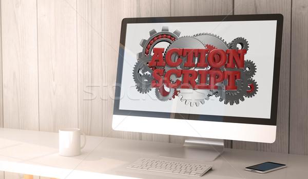 desktop computer action script Stock photo © georgejmclittle