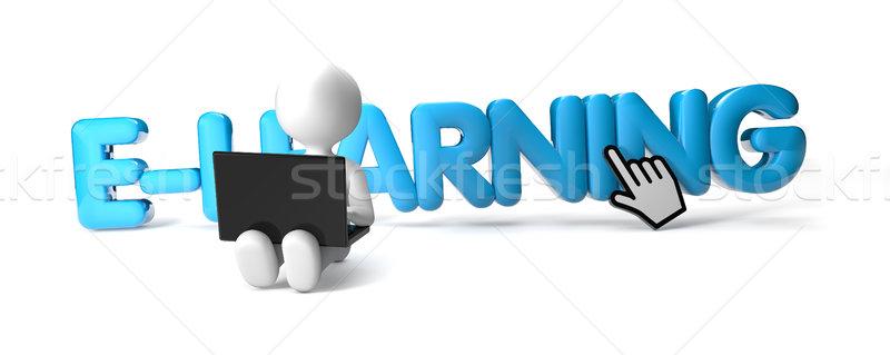 Online oktatás férfi render laptop szöveg kék Stock fotó © georgejmclittle