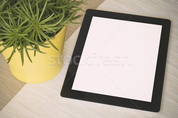 Tablet over a table with plant Stock photo © georgejmclittle