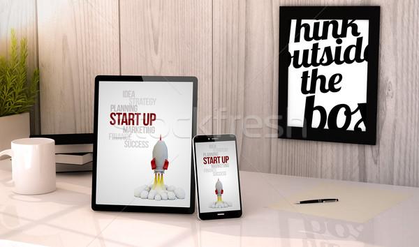 desktop tablet and phone start up Stock photo © georgejmclittle
