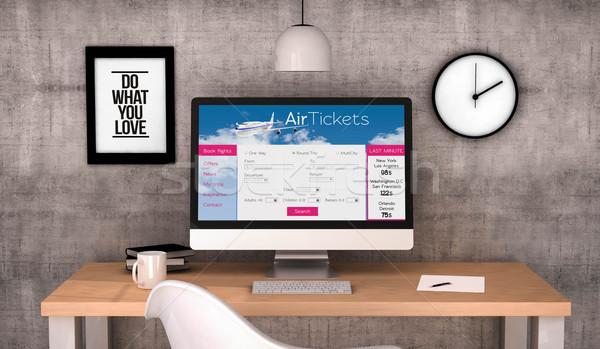 workspace computer ticket flights website Stock photo © georgejmclittle
