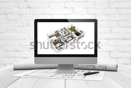 Génie immobilier construction design d'intérieur numérique Photo stock © georgejmclittle
