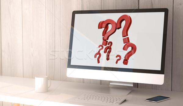 desktop computer question marks Stock photo © georgejmclittle