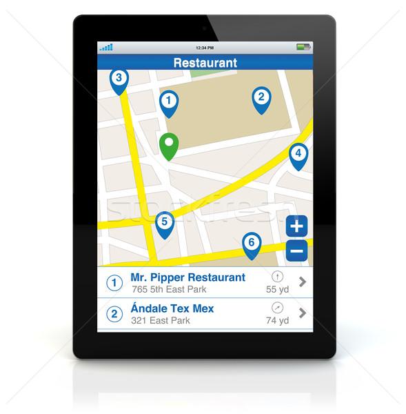 tablet pc restaurant search app Stock photo © georgejmclittle