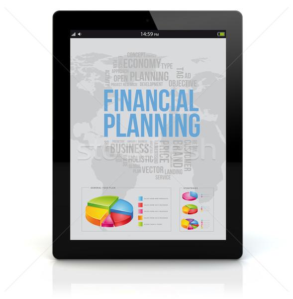 Táblagép pénzügyi tervezés üzlet pénzügyek render képernyő Stock fotó © georgejmclittle