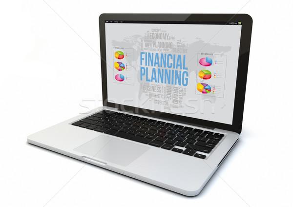 Laptop pénzügyi tervezés render 3D generált számítógép Stock fotó © georgejmclittle