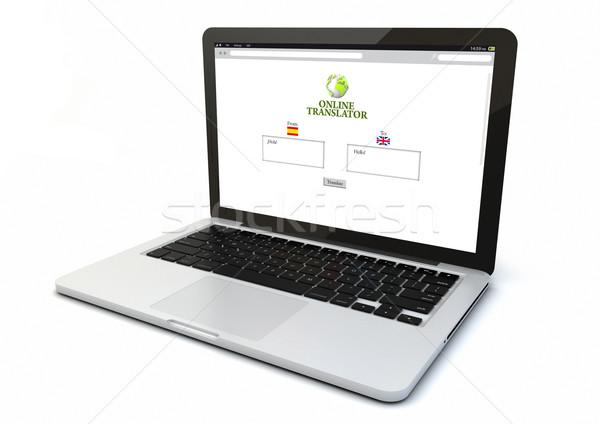 Laptop on-line tradução tornar 3D gerado Foto stock © georgejmclittle
