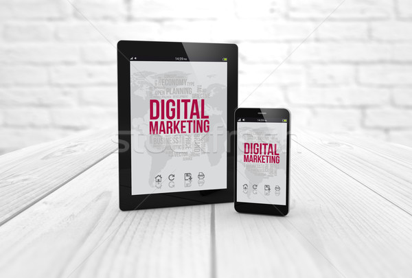 digital marketing tablet and smart phone Stock photo © georgejmclittle