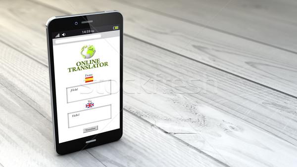 Fordító okostelefon fehér fából készült digitális generált Stock fotó © georgejmclittle