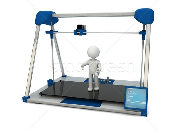 3D impressora tornar azul impressão pessoa Foto stock © georgejmclittle