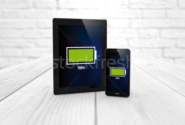 full battery tablet and smart phone Stock photo © georgejmclittle